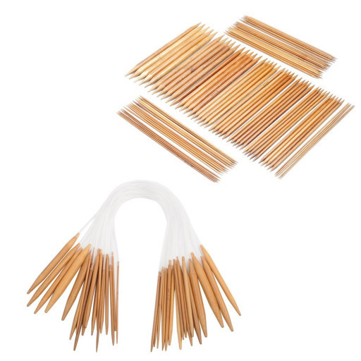 """bamboo set of 5 knitting needles double pointed 20cm 8/"""" double ended"""